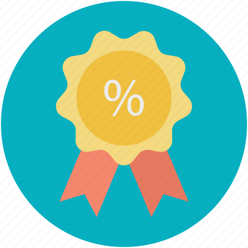 percent sign, percentage sign, retail, ribbon badge, sale element icon