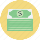 banknotes, dollar money, money, money bundle, wealth icon