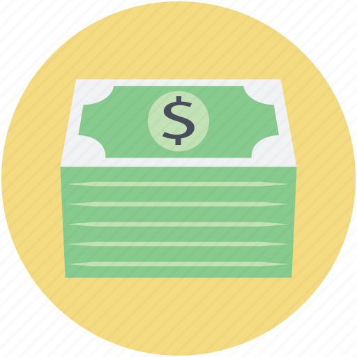 banknotes, dollar money, money, money bundle, wealth icon