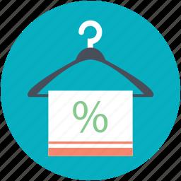 boutique accessory, hanger towel, percent sign, sale element, text header icon