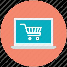 laptop screen, online shop, online shopping, shopping cart, shopping theme icon