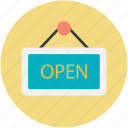 hanging sign, information sign, open shop, open sign, shop sign icon