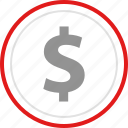 dollar, of, point, sale, sign icon