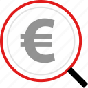 euro, money, search, sign icon