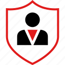 boss, person, protect, safe, secured, user icon