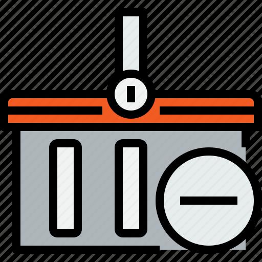 basket, commerce, market, remove, sale, shop, shopping icon
