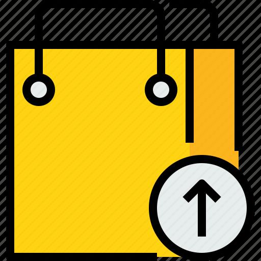 arrow, bag, commerce, market, sale, shop, shopping icon