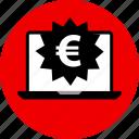 euro, laptop, price, sign, tag icon