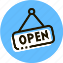 e-commerce, nameplate, open, shop, shopping icon