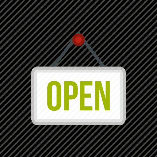 board, door, hanging, open, plate, shop, store icon
