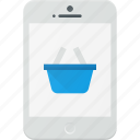 basket, mobile, phone, shopping, smartphone icon