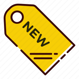 buy, item, label, new, shopping, yellow icon