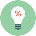 bulb, bulb light, light, percentage, promotional offer icon