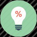 bulb light, bulb, percentage, promotional offer, light icon