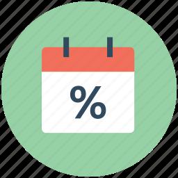calendar, date, percentage, schedule, timeframe, wall calendar icon