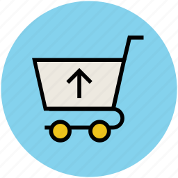 arrow, hand trolley, hand truck, shopping, shopping cart, stack trolley, trolley icon
