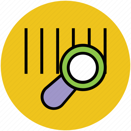 barcode, barcode search, magnifying lens, searching, verification, verify icon