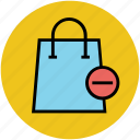 less, minus from bag, online shopping, shopping bag, subtract icon