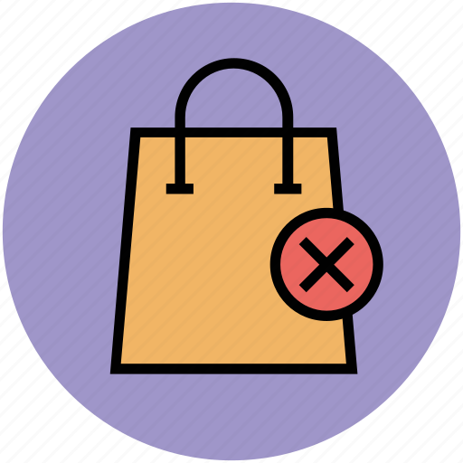 cancel, dislike, remove, remove from bag, shopping, shopping bag icon