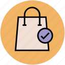 buy, checklist, shopping bag, shopping done, tick icon