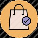 buy, checklist, shopping bag, shopping done, tick icon