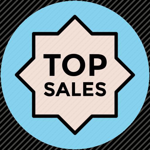 label, popular sales, sale tag, sticker, tag, top sales icon