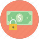 dollar, finance, lock sign, money protection, safe banking icon
