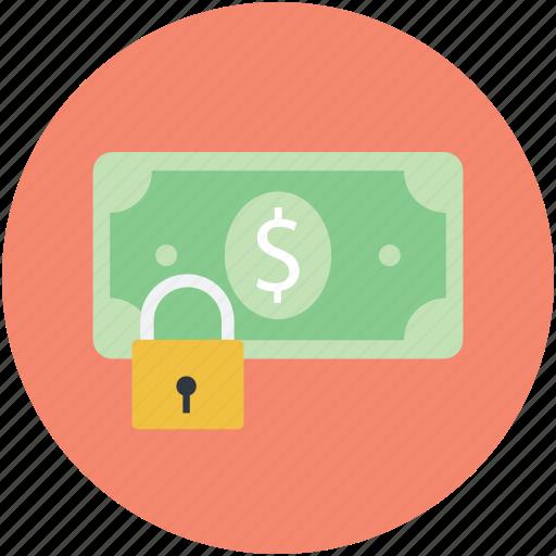 dollar, finance, lock sign, money protection, safe banking icon