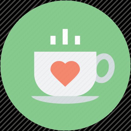 heart teacup, hot tea, love theme, saucer, steam icon