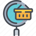 basket, commerce, search, shop, shopping icon