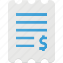 bill, finance, invoice, paper, payment, receipt icon