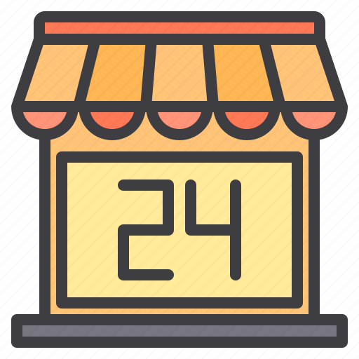 commerce, hour, open, sale, shopping, store icon