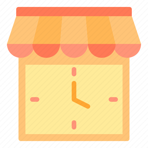 commerce, sale, shopping, store, time icon