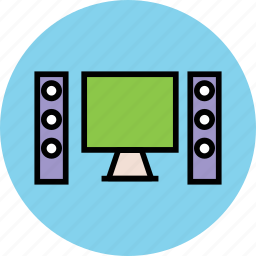 computer, desktop, lcd, lcd with woofer, led, personal computer, speaker icon