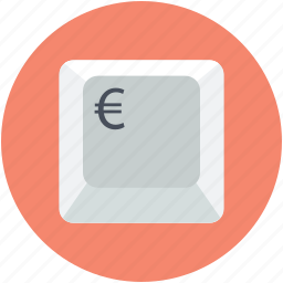 currency sign, euro sign, keyboard key, money, online finance icon