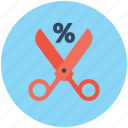 discount, discount offer, percentage, scissors, shears icon