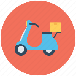 courier service, delivery bike, delivery box, package, scooter courier icon