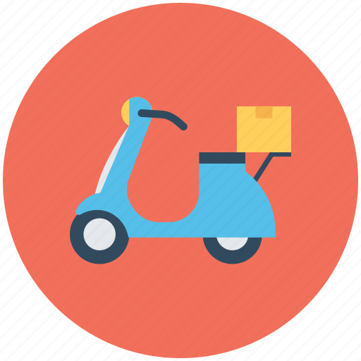 Courier service, delivery bike, delivery box, package, scooter courier icon - Download on Iconfinder