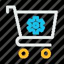 bag, cog, gear, hand, setting, shop, shopping icon