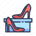 female, heels, high, shoes, shopping, woman icon