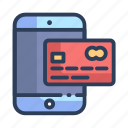 credit card, mobile, online, payment, shopping icon