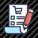 list, price list, shop, shopping icon