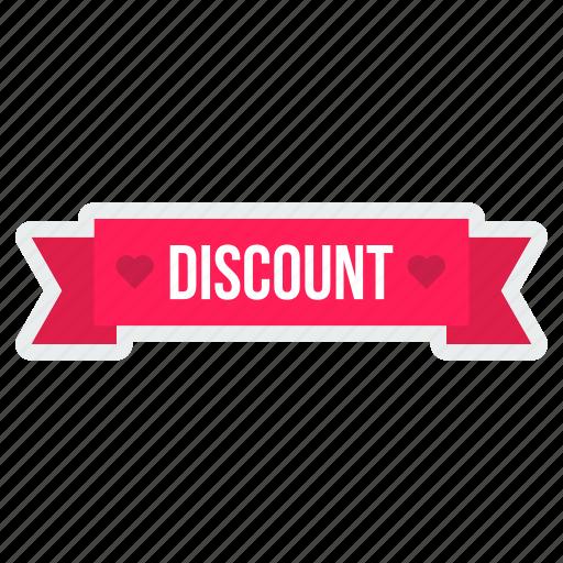 dicsount, heart, offer, ribbon, sticker, tag, valentine icon