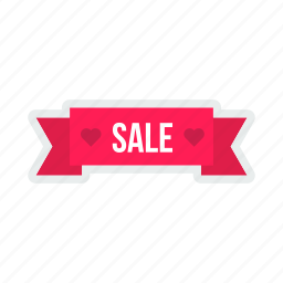 coupon, heart, label, pink, ribbon, sale, tag icon