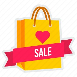 bag, carry, offer, sale, shopping, valentine icon