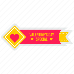 day, offer, ribbon, special, tag, valentine, valentines icon