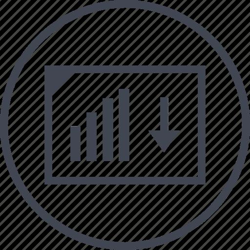 arrow, document, down, pointer icon