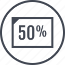 document, fifty, half, off icon