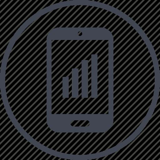 data, graph, phone, report icon