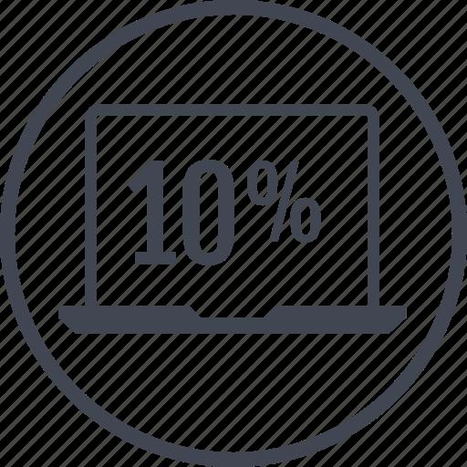 data, laptop, percent, ten icon